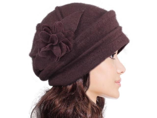 Women's Elegant Flower Wool Cloche Bucket Slouch Hat - Brown
