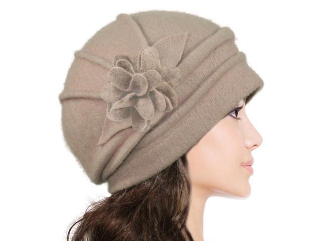 Women's Elegant Flower Wool Cloche Bucket Slouch Hat - Tan