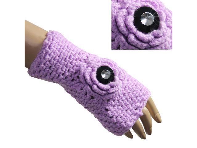 Women's Button Accented Flower Acrylic Hand Crochet Fingerless Gloves - Pink