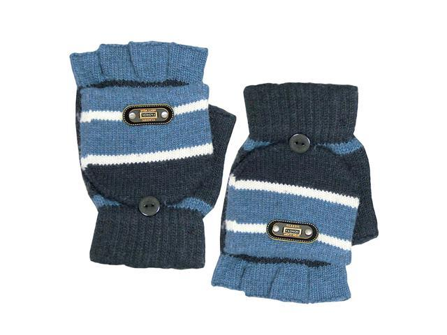 Men's Striped Pop-Top Convertible Knitted Acrylic Fingerless Mitten Gloves - Blu