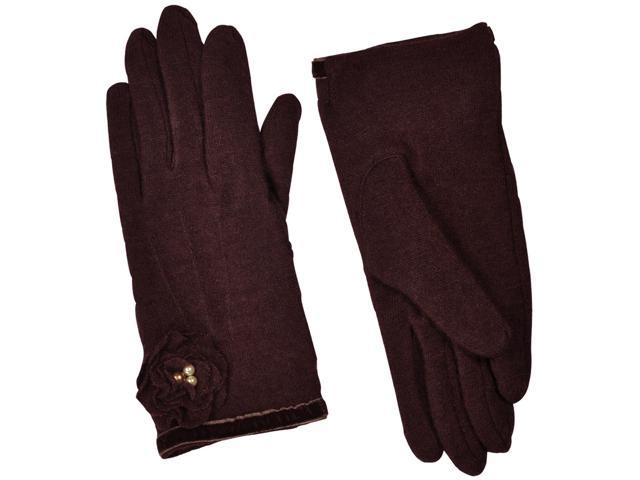 Dahlia Women's Faux Pearl Accented Flower Wool Blend Dress Gloves - Brown