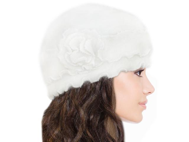 Dahlia Women's Super Soft Flower Ruffle Laciness Angora Blend Knit Beanie Hat - White