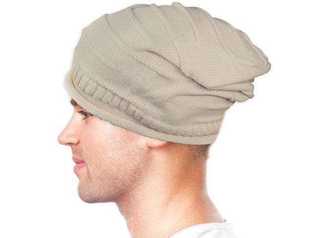 Dahlia Unisex Solid Color Acrylic Slouch Beanie Hat - Tan