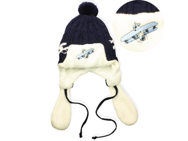 Acrylic and Microfiber Boys' Embroidered Pilot Cap Hat with Ear Flaps and Pompon