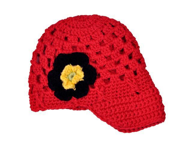 Lovely Flower Hand Crochet Acrylic Baby Visor Hat - Red