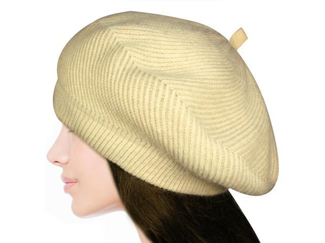 Women's Fluffy Twisted Classic Beret Acrylic Rabbit Hair Knit Beanie Hat - Cream