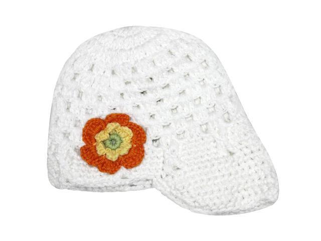 Lovely Flower Hand Crochet Acrylic Baby Visor Hat - White