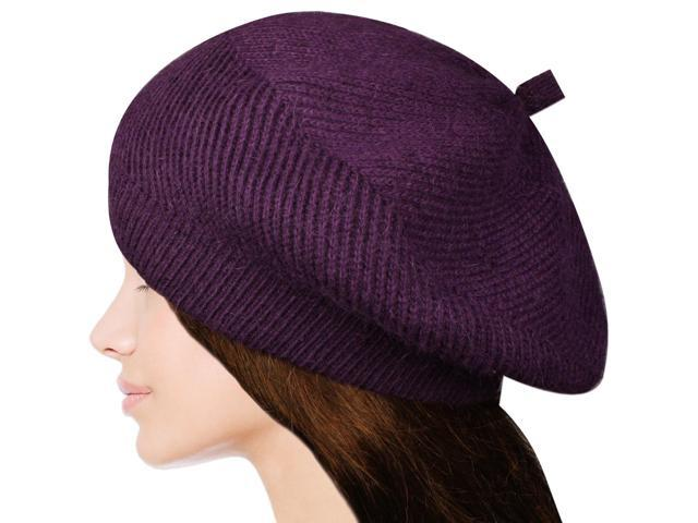 Women's Fluffy Twisted Classic Beret Acrylic Rabbit Hair Knit Beanie Hat - Purpl