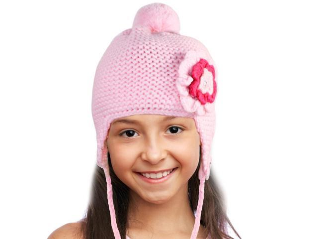 Triple Layer Crochet Rhinestone Flower Acrylic Girl Trapper Hat - Pink
