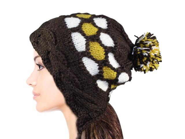 Women's Dangle Pompom Acrylic Knit Boho Hat - Brown
