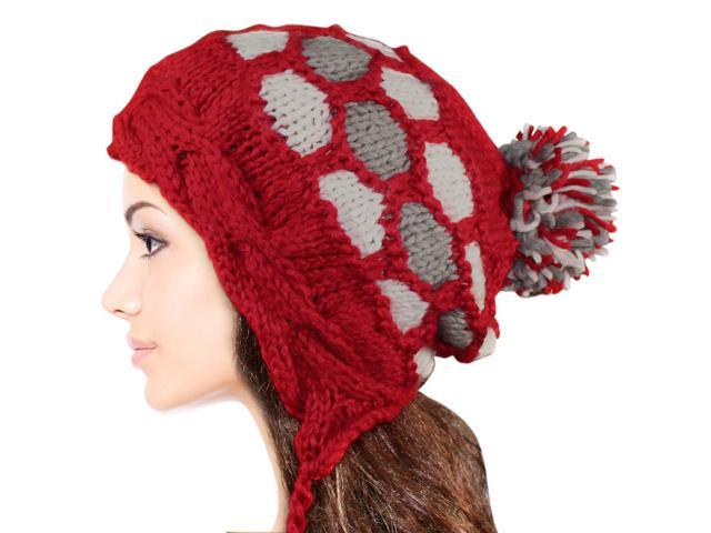 Women's Dangle Pompom Acrylic Knit Boho Hat - Red