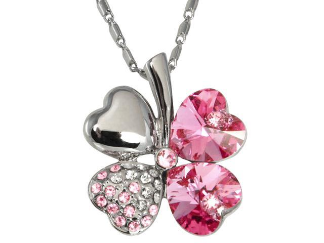 18k Gold Plated Swarovski Crystal Heart Shaped Four Leaf Clover Pendant Necklace (Pink Sapphire)