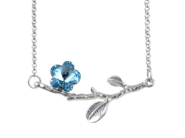 Spring Branch in Bloom Cherry Blossom Shaped Swarovski Elements Crystal Rhodium Plated Necklace - Topaz Blue