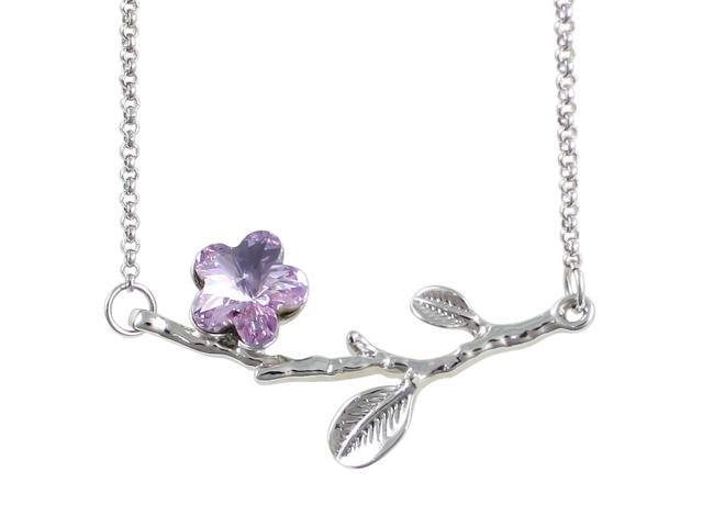 Spring Branch in Bloom Cherry Blossom Shaped Swarovski Elements Crystal Rhodium Plated Necklace - Amethyst Purple