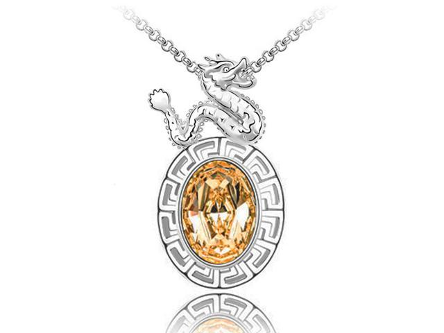 Year of Dragon Golden Swarovski Elements Crystal Chinese Zodiac Amulet Rhodium Plated Pendant Necklace- Citrine Orange