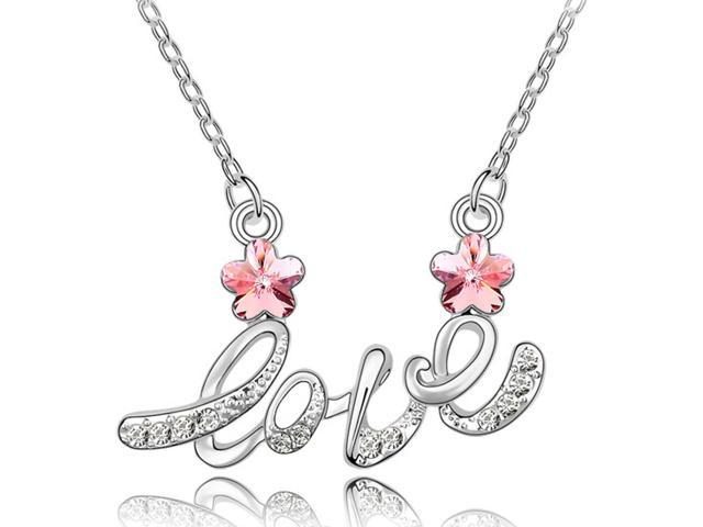 Letter Love Cherry Blossom Shaped Swarovski Elements Crystal Rhodium Plated Necklace - Tourmaline Pink