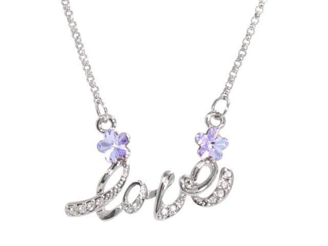 Letter Love Cherry Blossom Shaped Swarovski Elements Crystal Rhodium Plated Necklace - Amethyst Purple