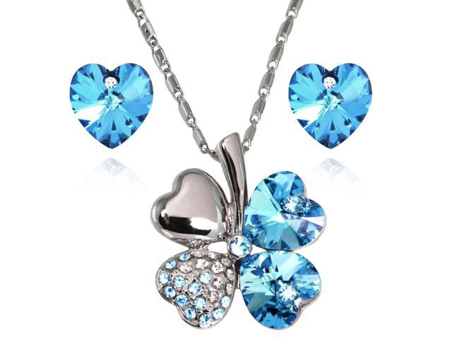 Lucky Love Heart Shaped Swarovski Elements Crystal Four Leaf Clover Rhodium Plated Pendant Necklace and Earrings Set - Aquamarine Blue