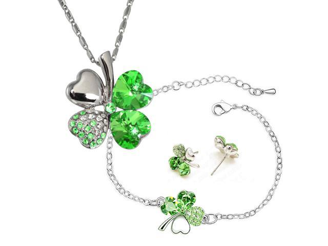 Four Leaf Clover Heart Shaped Swarovski Elements Crystal Rhodium Plated Pendant Necklace, Earrings and Bracelet Set - Peridot ...
