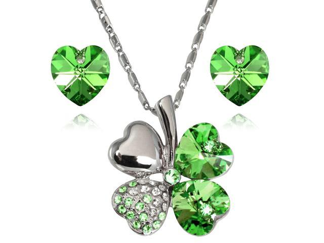 Lucky Love Heart Shaped Swarovski Elements Crystal Four Leaf Clover Rhodium Plated Pendant Necklace and Earrings Set - Peridot ...