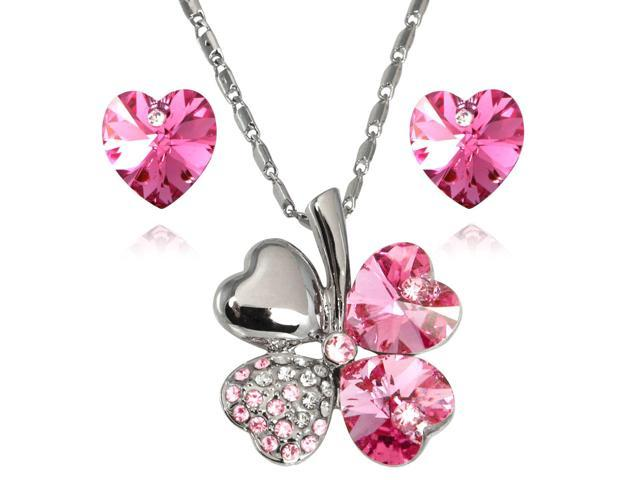 Lucky Love Heart Shaped Swarovski Elements Crystal Four Leaf Clover Rhodium Plated Pendant Necklace and Earrings Set - Pink ...