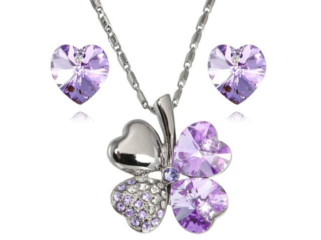 Lucky Love Heart Shaped Swarovski Elements Crystal Four Leaf Clover Rhodium Plated Pendant Necklace and Earrings Set - Amethyst Purple