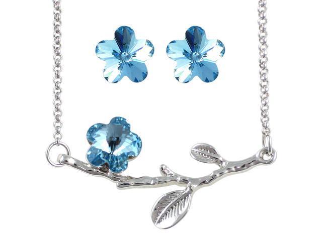 Spring Bloom Swarovski Crystal 18KGP Necklace & Earrings Set - Topaz Blue