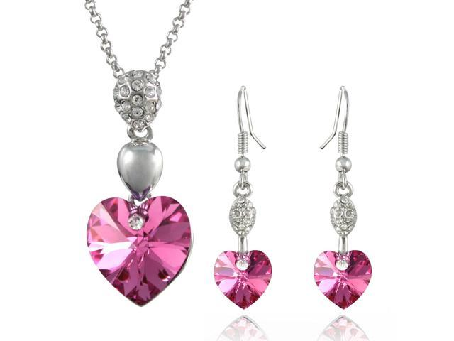 Sparkling Heart 18KGP Swarovski Crystal Necklace & Earrings Set - Pink Sapphire