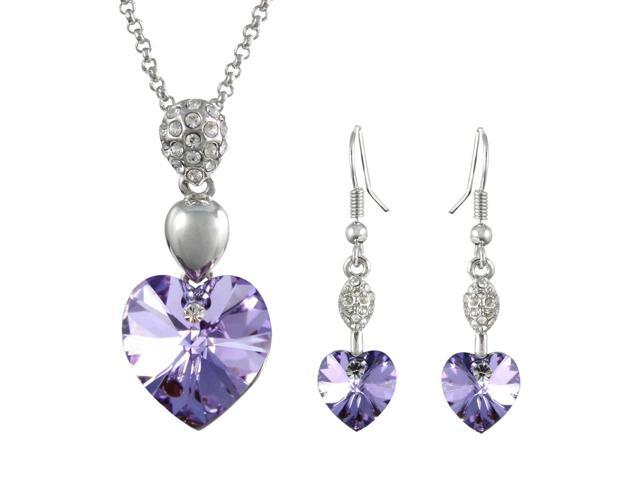 Sparkling Oval Dangle Heart Swarovski Elements Heart Shaped Crystal Rhodium Plated Pendant Necklace and Earrings Set - Amethyst Purple