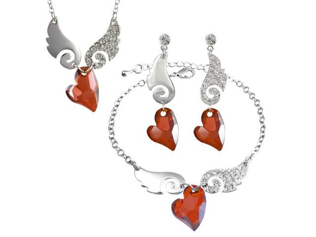 Cupid Swarovski Elements Heart Shaped Crystal Sparkling Wing Rhodium Plated Necklace Earrings and Bracelet Set - Garnet Red