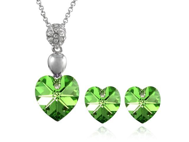 Crystal Heart Swarovski Elements Heart Shaped Crystal Rhodium Plated Pendant Necklace and Stud Earrings Set - Peridot Green