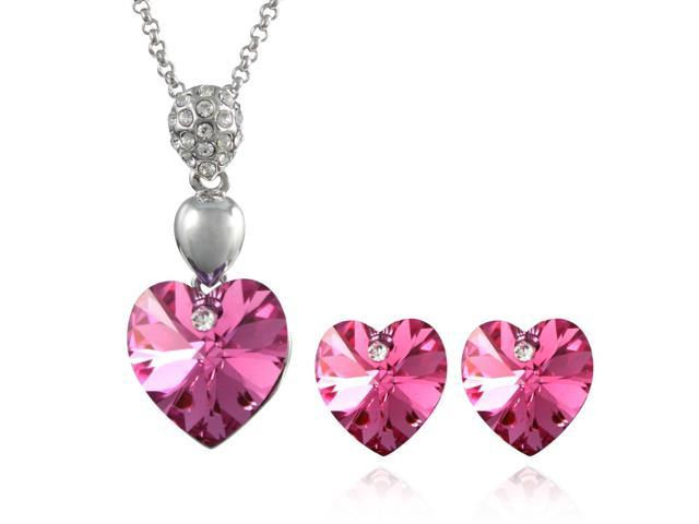 Crystal Heart Swarovski Elements Heart Shaped Crystal Rhodium Plated Pendant Necklace and Stud Earrings Set - Pink Sapphire