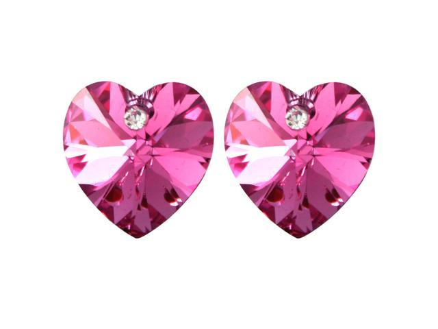 Crystal Heart Swarovski Elements Heart Shaped Crystal Rhodium Plated Stud Earrings - Pink Sapphire