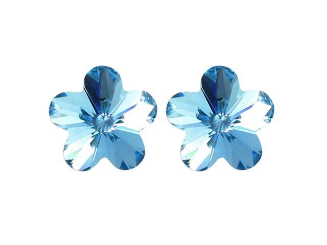 Spring Bloom Cherry Blossom Shaped Swarovski Elements Crystal Rhodium Plated Stud Earrings - Topaz Blue