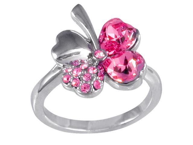 Four Leaf Clover Heart Shaped Swarovski Elements Crystal Rhodium Plated Fashion Ring (Pink Sapphire) - Size 6.5