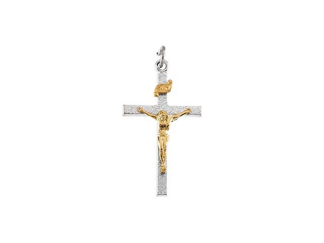 Sterling Silver And Gold Fill Two Tone Crucifix Pendant  3.7