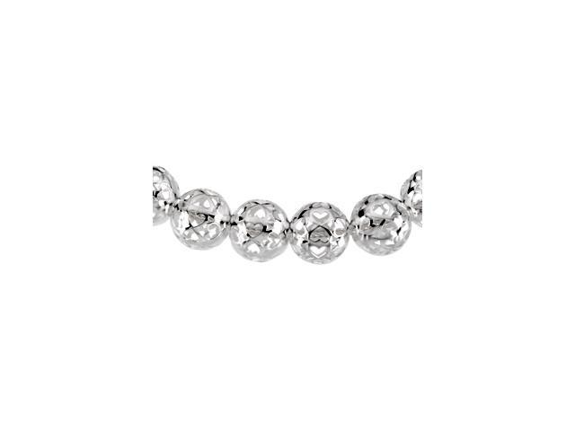 Sterling Silver 0800 Mm Hollow Bead Necklace 16.00 Inch