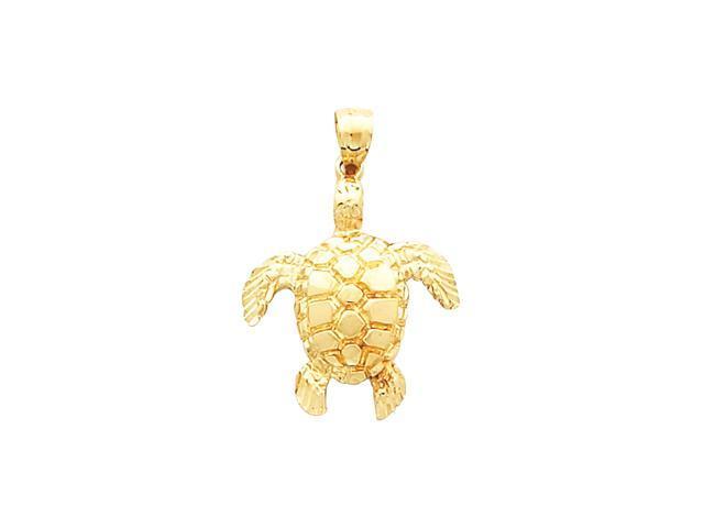 14K Yellow Gold Turtle Pendant    2.7