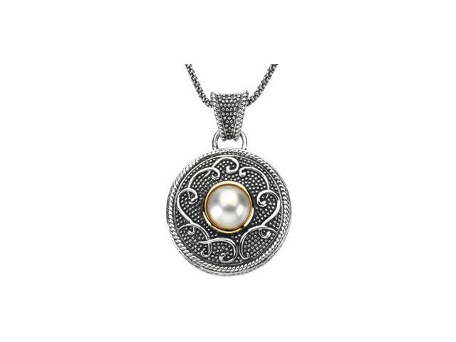 Sterling Silver & 14K Yellow Gold Freshwater Cultured Pearl Necklace 10.00 Mm