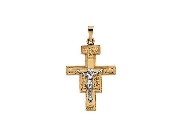 14K Yellow Gold San Damiano Cross Pendant  2.9