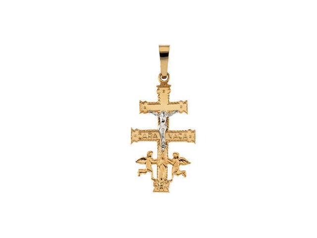 14K Yellow/White Gold Two Tone Cara Vaca Cross Pendant