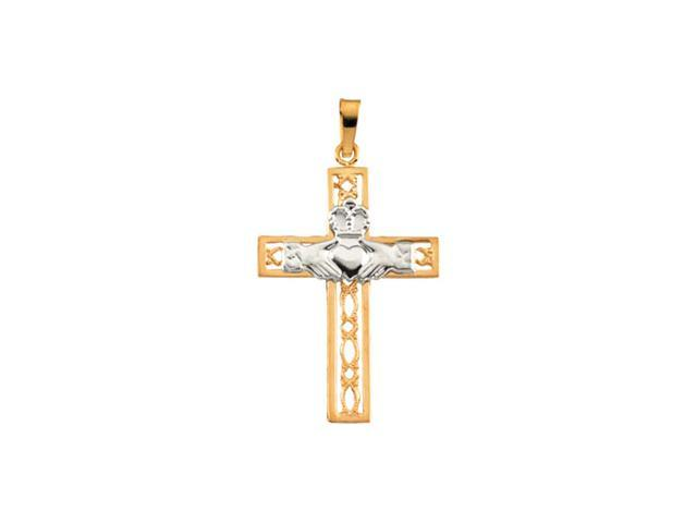 14K Yellow/White Gold Two Tone Claddagh Cross Pendant This Item Is Approximate