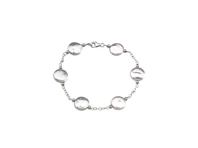 Sterling Silver Freshwater Cultured White Coin 0 7. 5 0 Inch2. 0 0-3. 0 0 Mm