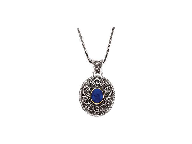 Sterling Silver & 14K Yellow Gold Genuine Lapis Cabachon Necklace 10.00X08.00 Mm