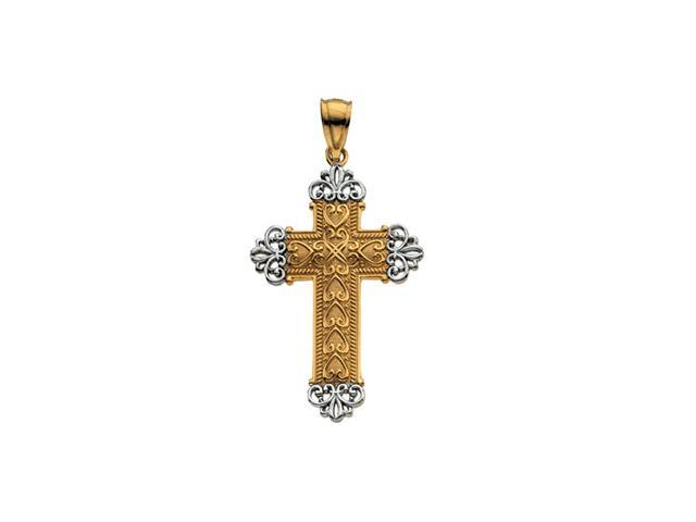 14K Yellow/White Gold Two Tone Cross Pendant  3.1