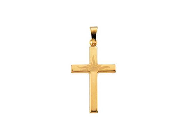 14K Yellow Gold Sunrise Cross Pendant