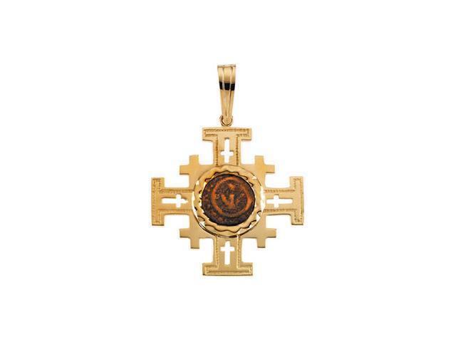 14K Yellow Gold Jerusalem Cross Pendant  7