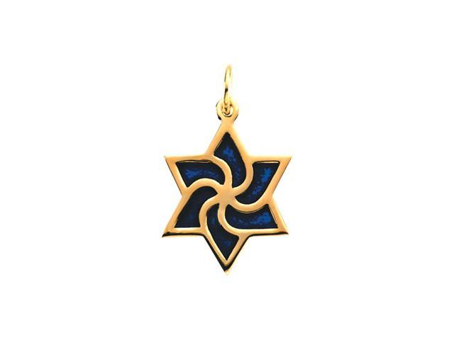 14K Yellow Gold Star Of David With Blue Enamel6. 5 0X14. 7 5 Mm