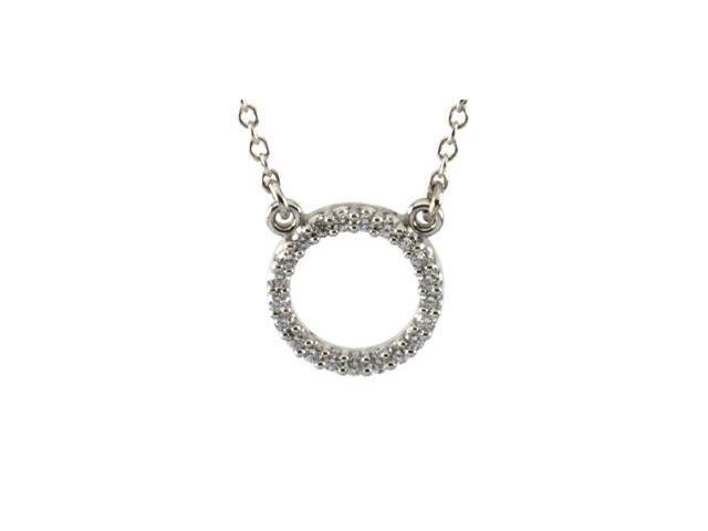 Platinum Diamond Circle Necklace 1/10 Ct Tw