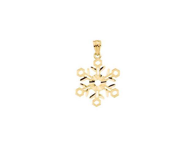 14K Yellow Gold Snowflake Pendant   0.8